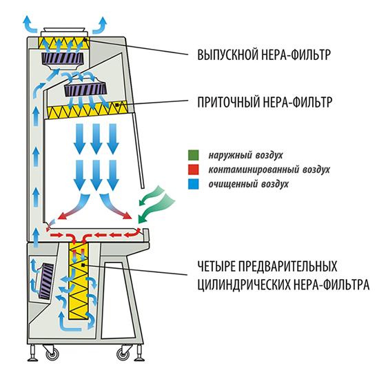 """Схема движения воздуха в боксе биологической безопасности БМБ-II """"Ламинар-С"""" Cytos"""